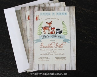 Woodland Baby Shower Invitation, It's a Boy, Rustic Style Invitation, Forest Friends Invitation PRINTED INVITATIONS HM111