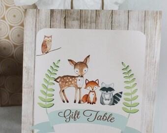Woodland Baby Shower Sign, Gift Table Sign DIGITAL FILE