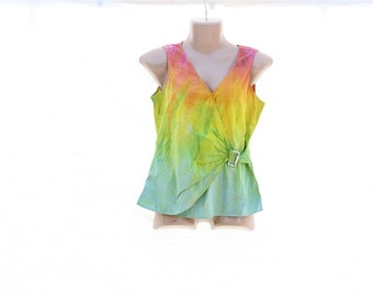 Upcycled Tie Dye Ladies Tank Top, OOAK Repurposed Top, Pastel Hippie Recycled Clothing, Wrap Around Tank