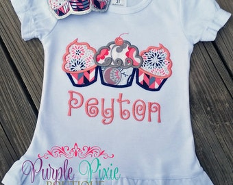 Birthday Cupcake trio Ruffle Boutique tshirt
