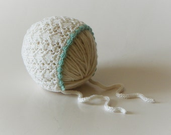 Baby girl lace hat white baptism hat mint green with white knitted baby hat christening hat MADE TO ORDER