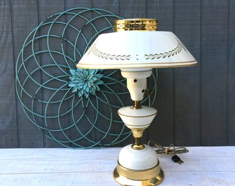 Vintage Ivory Tole Painted Table Lamp with Metal Shade, Mid-Century White and Gold Metal Lamp