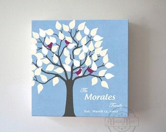 Christmas Gift for Family TreeCanvas art, Love Birds, Custom Home Decor, Blue, Gray Wall Art, Modern Home Decor Art