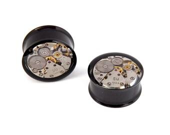 Steampunk Plugs / Black Tunnels with Vintage Watch Mechanics  - Gears In Your Ears. 20mm / 13/16 inch gauge. Pair. Pre-Order