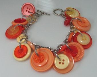 Orange Peach and Yellow Button Bracelet