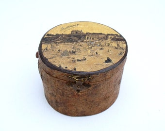 Carved wood vintage French souvenir box Biarritz Sepia print hinged with lid- jewellery keepsakes