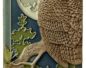 Ceramic tile, Night Owl, art tile, wall decor, sculpture,  4x8 inches