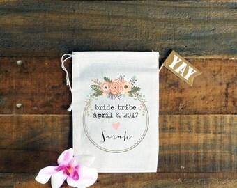 Bride Tribe Personalized Muslin Bag // Wedding Day Emergency Kit Bag