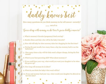 Daddy Knows Best Baby Shower Game - GIRLS, Printable Baby Shower Game, Baby Shower Printable, Baby Shower Game, Baby Shower Decor BAS1