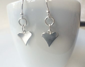 Sterling Silver Heart Dangle Earrings, Silver Heart Charm Earrings, Long Heart Earrings, 925 Silver Jewellery Gift for Her, Silver Jewelry