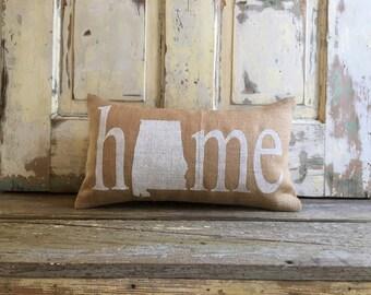 Pillow Cover | Burlap Pillow | Home Pillow | State Pillow | Home lumbar | Gift for Him | Housewarming, Graduation Gift | Alabama