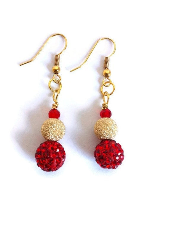 Red Gold Festive Holiday Earrings Red Crystal Pave Disco Ball