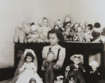1940's Adorable Little Girl With Her Doll Collection Snapshot Photo - Free Shipping