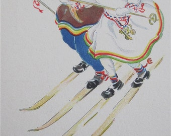 Original Aina Stenberg Masolle Artist Signed Postcard - Skiing Swedish Children In Traditional Costume - Free Shipping