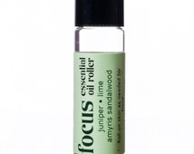 Focus: Essential Oil Roller. Aromatherapy Blend of Juniper Berry, Lime, and Amyris Bark for Focus and Mental Clarity.