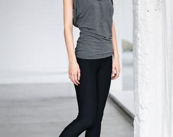 Black Leggings / Arya Yoga Clothes / Handmade / Women Clothing / Black Capri Leggings / Low Rise Black Tights by AryaSense L7814BL