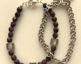 Men's Brown and Silver Bracelet Set or Singles - Sterling Silver and Breaded Bracelet