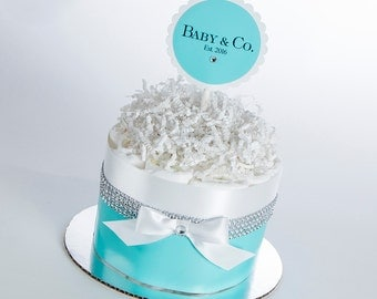 "The ""Baby & Co."" Mini Diaper Cake. Baby Shower Gift or Centerpiece."