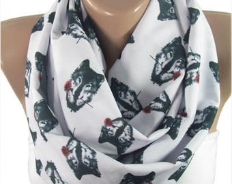 Wolf Scarf Infinity Scarf Wolf with Rose Scarf Mothers Day Gift For Her Gift For Mom Gift For Mom Gift For Girlfriend Valentines Day Gift