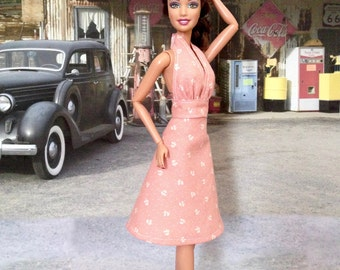 Barbie Doll Dress - Backless, Halter Apricot Flower Print Doll Dress and Shoes