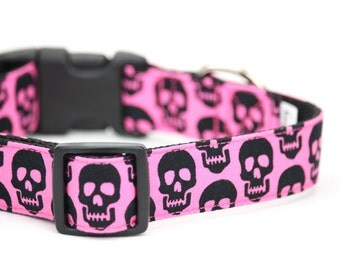 Pink and Black Skull Dog Collar Bad to the Bone Halloween Dog Collar