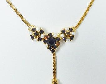 Vintage Monet Pendant Necklace, Rhinestones, Simulated Pearls, Dangling Stones