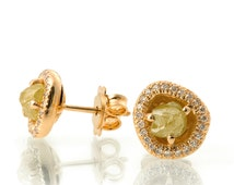 Raw Diamond Earrings, 18K Rose Gold and Rough Diamond Studs, Unique Earrings, rough diamond studs, raw diamond studs