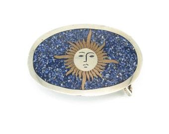 Vintage Mexico Sun Belt Buckle, Blue Lapas Chip, Brass, Nickle Silver