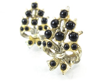 Vintage Black Glass Earrings, Cabochons, Ribbons, Gold Tone, Clip Ons, Circa 1940