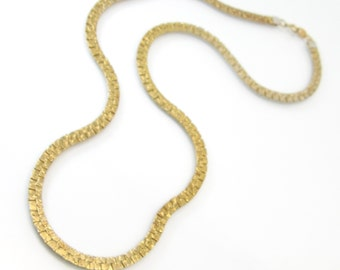 Vintage Gold Tone Necklace, Textured