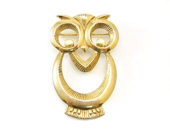 Vintage Owl Brooch, Gold Tone