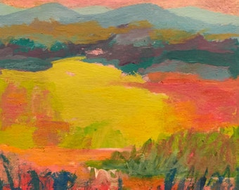 Landscape Painting, Blue Ridge Mountains, Meadow, Clouds, acrylic on paper, gold, magenta