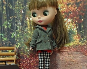blythe clothes,Pants gingham check black