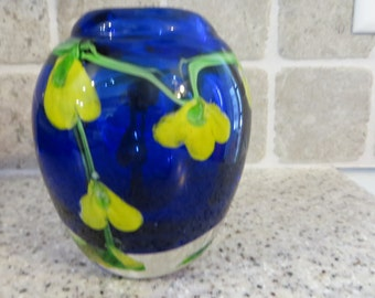 Vintage Paperweight Vase in Colbalt Blue with Yellow Flowers