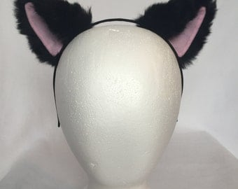 Black Kitty Ears Headband, Black Cat ears with pink inner color