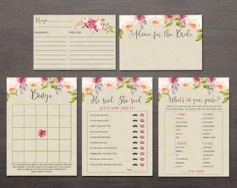 Floral Bridal Shower Games Printable, Boho Bridal Shower Games Bundle, Printable Bridal Shower Games Pack, Digital File