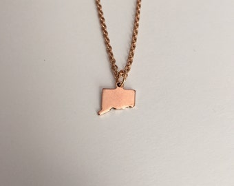 Connecticut Necklace, Connecticut, rose gold Connecticut necklace, Connecticut jewelry, Connecticut pendant, state necklace, state jewelry