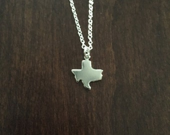 Texas Necklace, Texas, silver Texas necklace, Texas jewelry, Texas pendant, silver Texas, state necklace, state jewelry, silver necklace