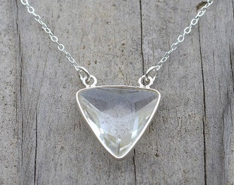 Crystal Quartz 'Trinity' Triangle Necklace //  14 - 15 - 16 - 18 Inch Sterling Sliver or 14k Gold Filled Necklace // Layering Necklace