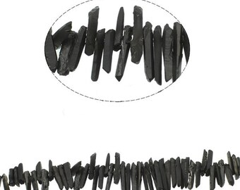 """Full Strand Black Coated Natural Quartz Point Beads, Rough, Raw, Plated, 15.5""""strand, top drilled, aprox 77pcs/strand"""