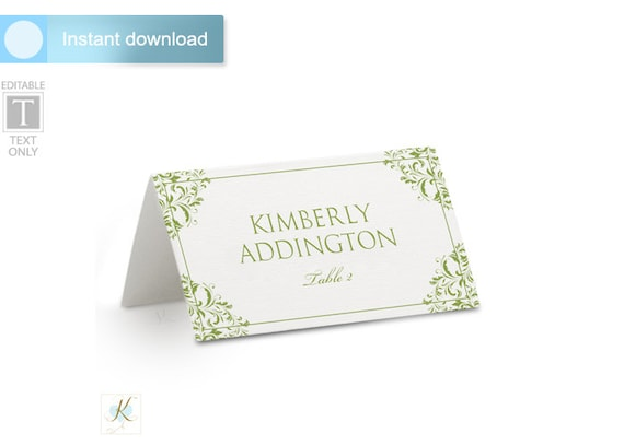 wedding place card name card template tent download instantly