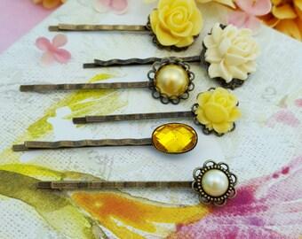 Yellow Bobby Pins, Pearl Bobby Pins, Yellow Bridesmaid, Set of 6 Bobby Pins, Pale Yellow Wedding, Yellow Rose Hair Pin, Autumn Hairpin H4020