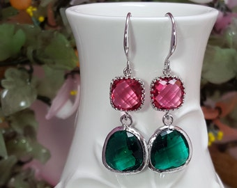 Christmas Gift, Red & Green Crystals, Silver Earrings, Red and Green Bridesmaid, Holiday Jewelry, Christmas Earrings, Ruby and Emerald E2048