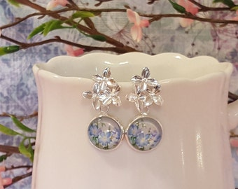 Silver Flower Studs, Blue Flower Earrings, Cinderella Earrings, Cornflower Blue Earrings, Blue Bridesmaid Gift, Powder Blue Earrings, E5324