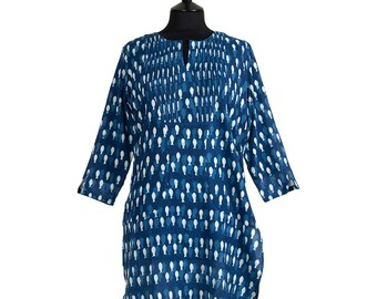LONG KURTA TOP – All sizes – Style 3 - Navy with off white motif - 100% lightweight cotton