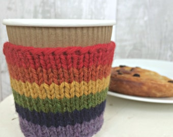 Rainbow Gifts, LGBT pride Knit Cup Cozy, Coffee Sleeve, Reusable Coffee Cup Cozy, Eco Friendly Gifts for Her, Gifts for Women Friends
