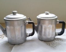 French vintage  Coffee Pot , set of 2,  Aluminum coffee pot,bakelite handle,kitchen decor
