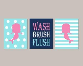 Mermaid Bathroom Kids Nautical Bathroom Decor Wash Brush Flush Wall Art  Pink Navy Bathroom Rules Set