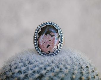 Silver Ocean Jasper Ring Size 6.25