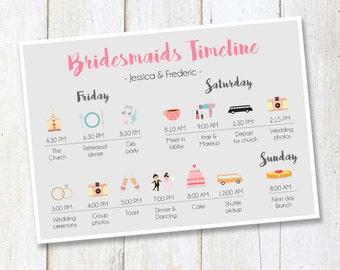 Custom Bridesmaids timeline program -  Wedding Timeline Bridesmaids and Groomsmen - Wedding Itinerary Timeline DIGITAL FILE!